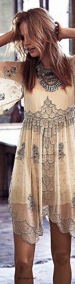 Free People • Beaded Sheer Dress • ≫∙∙☮ Bohème Babe ☮∙∙≪• ❤️ Babz ✿ιиѕριяαтισи❀ #abbigliamento #bohojewelry #boho