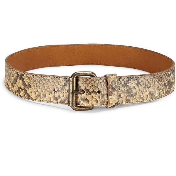 Ralph Lauren Collection Snakeskin Leather Belt ($357) ❤ liked on Polyvore featuring accessories, belts, slimming belt, ralph lauren collection, tan belt, real leather belts and tan leather belt
