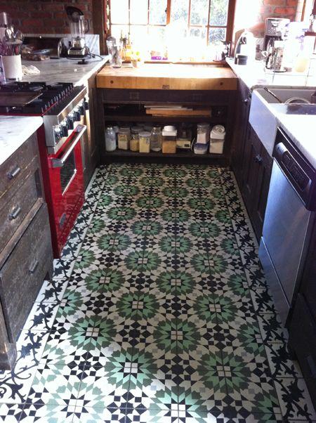 Cement Tile Floors In Kitchen.I Love This Green Tile Floor!