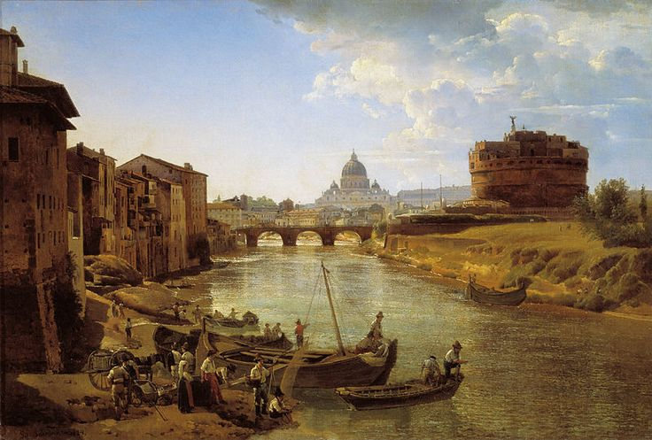 Sylvester Shchedrin: «Новый Рим. Замок Святого Ангела» (The Castle of S.Angelo) 1824/1825, oil on canvas, Dimensions: Height: 45.6 cm (18 in). Width: 67.2 cm (26.5 in), Current location: Tretyakov Gallery, Moscow.