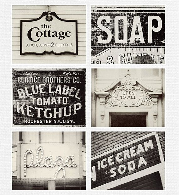 Vintage Sign Print Collection Kitchen Decor by LisaRussoFineArt, $67.50