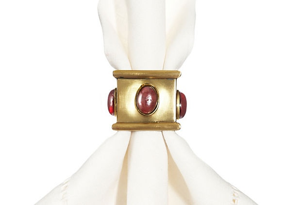 S/4 Square Napkin Rings, Red Ruby  |  125.00 retail
