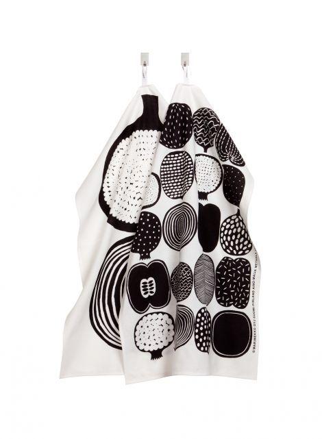 Kompotti-keittiöpyyhesetti (valkoinen, musta) |Sisustustuotteet, Keittiö, Tekstiilit, Keittiöpyyhkeet | Marimekko