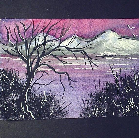 aceo original fantasy landscape by teabreaks on Etsy, $5.00