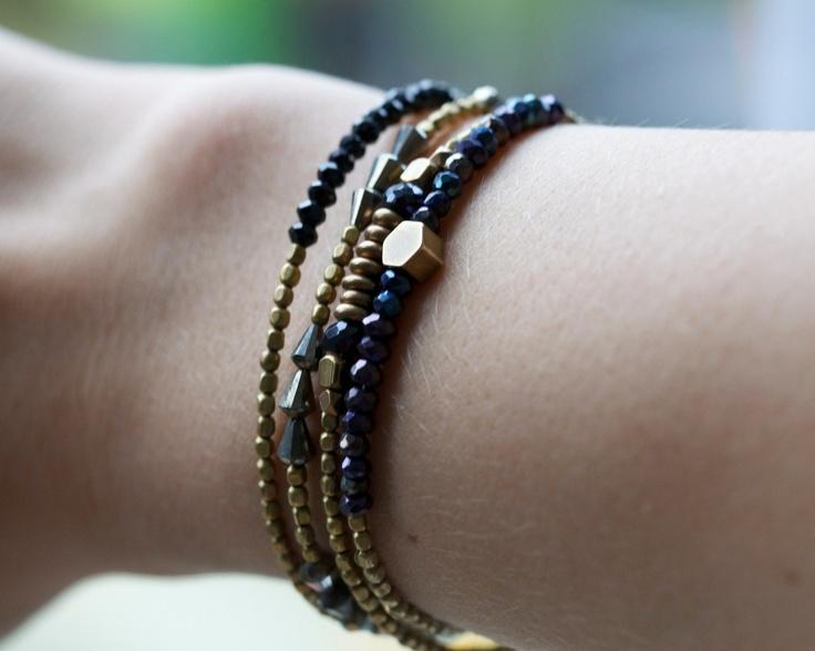 Black spinel bracelet: delicate bracelet. Stackable jewelry. Brass & beads collection.
