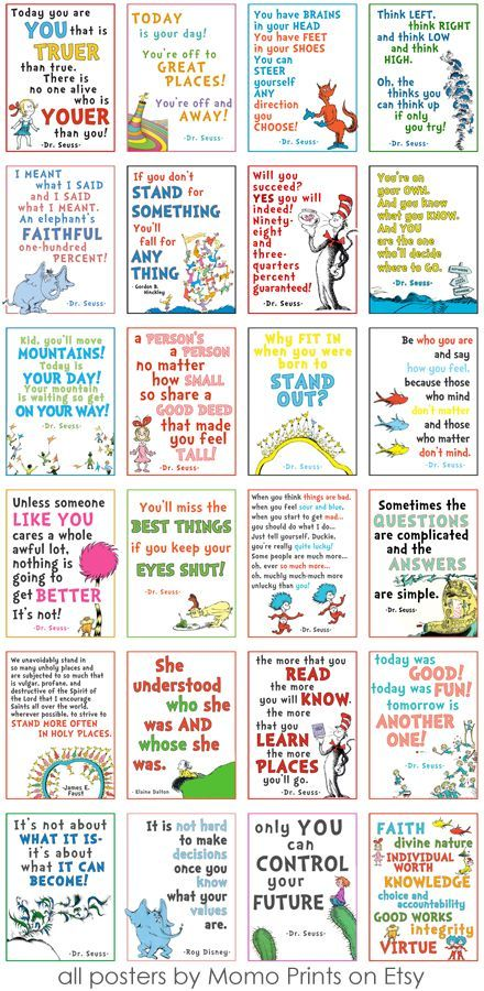 LDS GIRLS CAMP // DR SEUSS POSTERS! These printable posters are so great for a Dr. Seuss themed Ward Party or Girls Camp!  They have a mix of Dr. Seuss quotes AND quotes from LDS leaders.  There is also a poster of the Young Women values! #lds #girlscamp #seuss