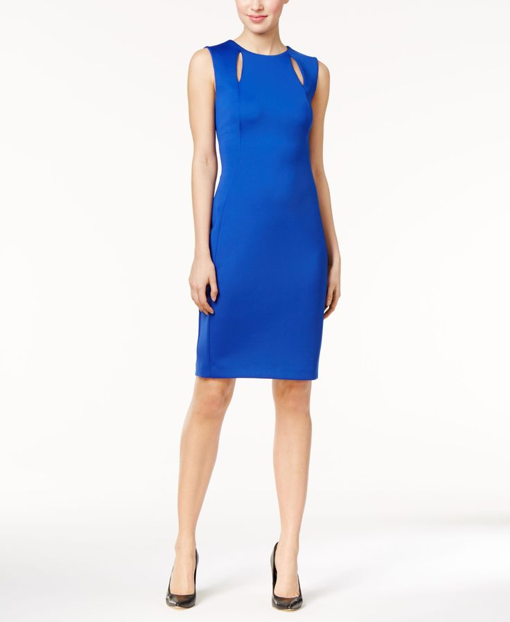 Sleek cutouts distinguish a vibrant Calvin Klein career dress finished with a bright exposed zipper for a modern touch. Try it with or without a blazer. | Polyester/spandex | Dry clean | Imported | Ex