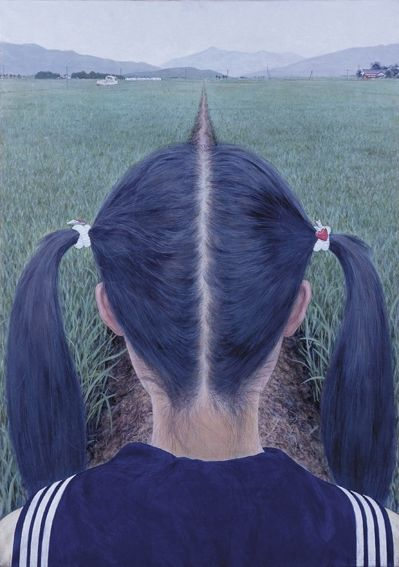 """Makoto Aida's Schoolgirls """"Azemichi"""" or """"A Path Between Rice Fields"""". haircut hair ponytails ponytail symmetric center middle road path view painting illustration japan"""