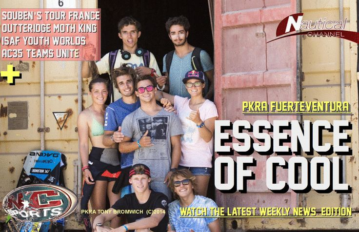 """NC SPORTS WEEKLY NEWS - Nautical Channel TV FRONTPAGE  -  August 8, 2014 Fuerteventura Brat-Pack   Outteridge new """"Moth King""""  Tour de France Voile   Daniel Souben and Franck Cammas.   AC35 Update:  challengers Luna Rossa, Artemis Racing, Ben Ainslie Racing, and Team France unite . Champions of tomorrow here today, at the 2014 ISAF Youth World Championship.   Online release every Friday   www.youtube.com/user/TVNauticalChannel"""