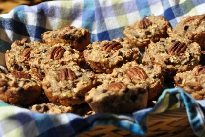 Banana, Chocolate, Pecan Oatmeal Muffins | New Paradigm Health Cookery | Information and Recipes about New Health Enhancing, Whole Food, Plant-Based Diet