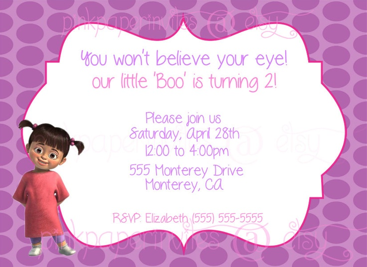 Monsters Inc BOO Birthday Party Invitation by PinkPaperInvites, $7.25