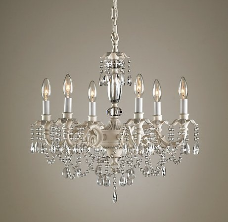 chandelier, probably swaged to ceiling from switched outlet in wall - unless me electrically talented hubby can wire a box in the ceiling?