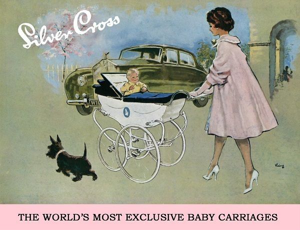 Silver Cross vintage pram ad. Described as the 'Rolls Royce' of carriages! Circa 1950's.