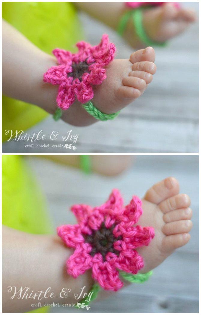 Summer Flower Baby Barefoot Sandals Crochet Barefoot Baby Sandals Free Patte Crochet Baby Barefoot Sandals Crochet Baby Sandals Pattern Barefoot Sandals Baby