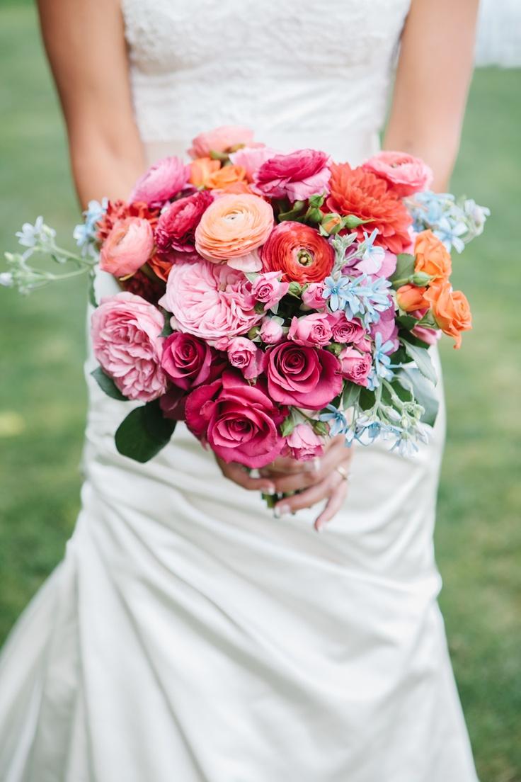 ranunculus, garden rose and tweedia bridal bouquet.