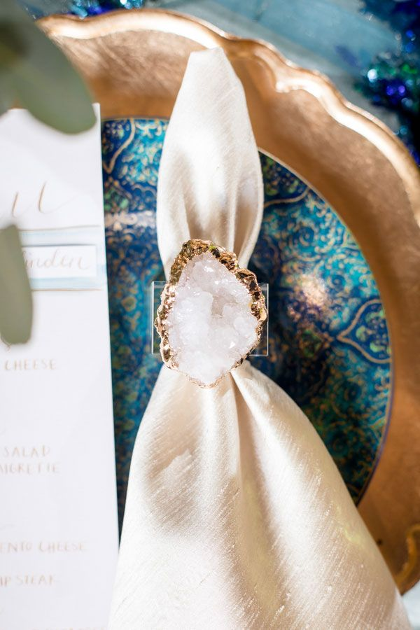 Mediterranean Wedding Inspiration   Beautiful Geode napkin ring goes so perfectly with this wedding decor.