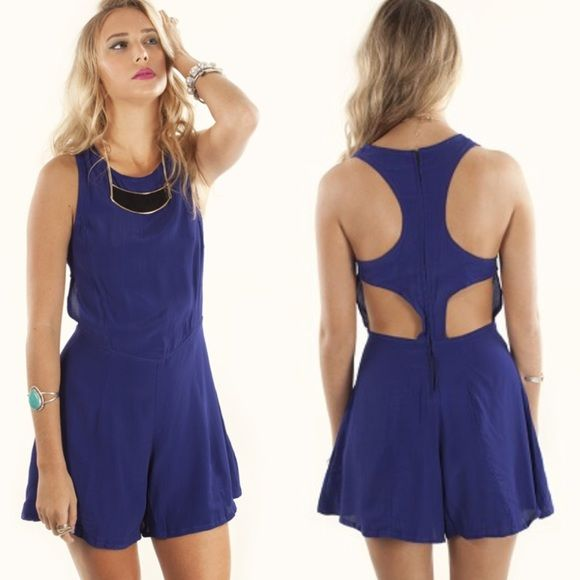 Motel Rocks Rowen Cut-Out Purple Playsuit Romper. Motel Rocks Rowen Cut-Out Purple Playsuit Romper. Gorgeous cut-out, intricate back and loose lightweight bottoms. Back zipper and hook and eye clasp. Beautiful, rich royal purple color. Only worn a few times, in great condition.   • bundle save 25% • no trades • posh rules •   ask questions • happy to help  Motel Rocks Dresses