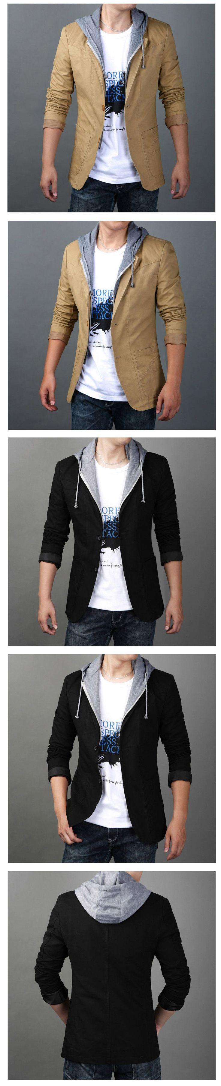 Новый 2015 весна и осень мужской пиджак тонкий Большой размер с капюшоном свободного покроя пиджак даже шляпу костюм с капюшоном костюм отдыха т 010 купить на AliExpress