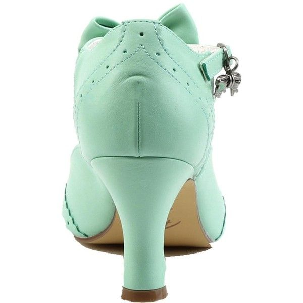 Women's Pin Up Couture Flapper-11 Wing Tip T-Strap Pump Mint ($57) ❤ liked on Polyvore featuring shoes, pumps, vegan pumps, kitten heel shoes, mint pumps, buckle shoes and t strap pumps
