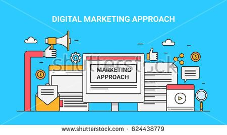 Digital marketing approach and strategies. Flat design line concept banner