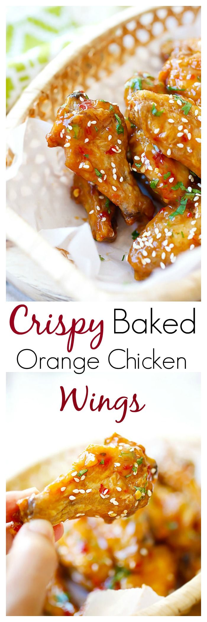 Crispy Baked Orange Chicken Wings - baked in oven and coated with sweet, citrusy and savory Chinese orange sauce. BEST and crispiest chicken wings EVER  | rasamalaysia.com | @justataste
