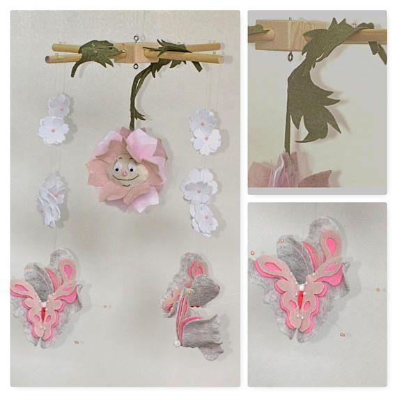 giostra neonata rosa bianca fiori e farfalleSPEDIZIONE