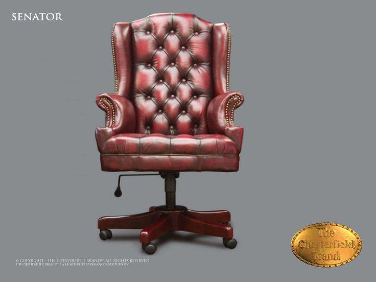 Chesterfield Bureau stoel</br>Senator (OC) Antiek bordo rood
