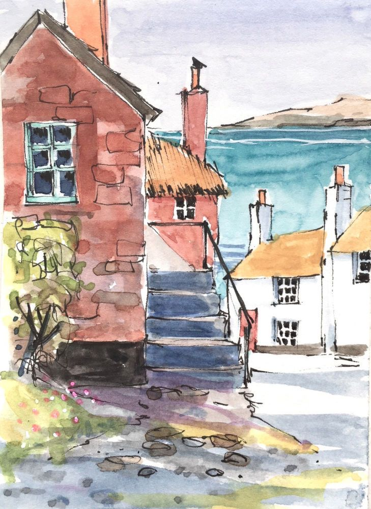 Signed Original ACEO Watercolour -Cornish Village - by Annabel Burton