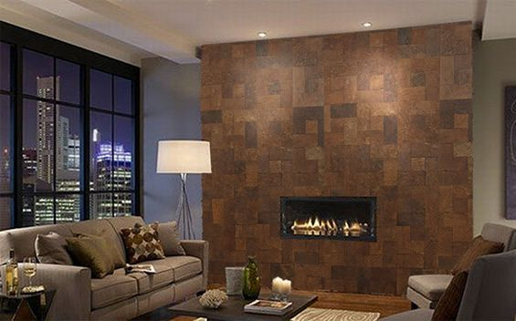 cork wall around fire palce