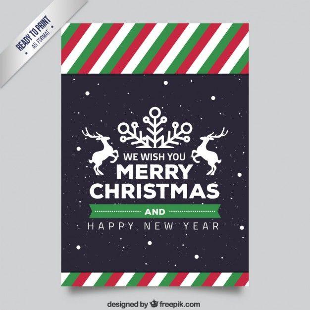 Полосатый Рождество флаер Бесплатные векторы