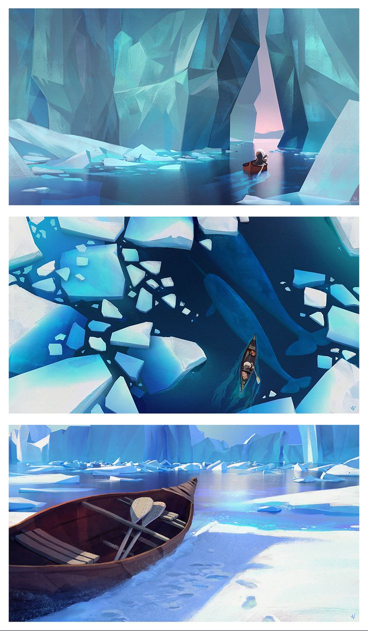 I did a bit more work on my first painting of Iluq in the canoe, then I also finished a third. These three paintings are supposed to work as a little story so I put them all together.