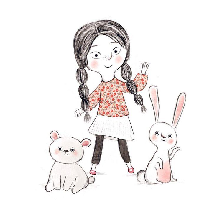 "683 Likes, 4 Comments - Alea (@aleazui) on Instagram: ""Girl, bunny, bear! ❤️ #art #artist #instaart #artwork #illustration #childrensillustration…"""