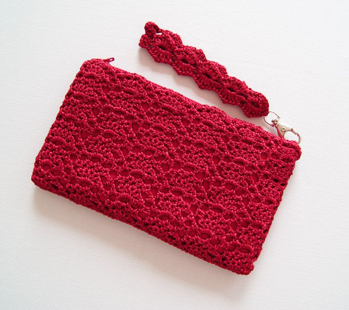 boloso de mano rojo en Crochet Clutch Bag ideal para una fiesta