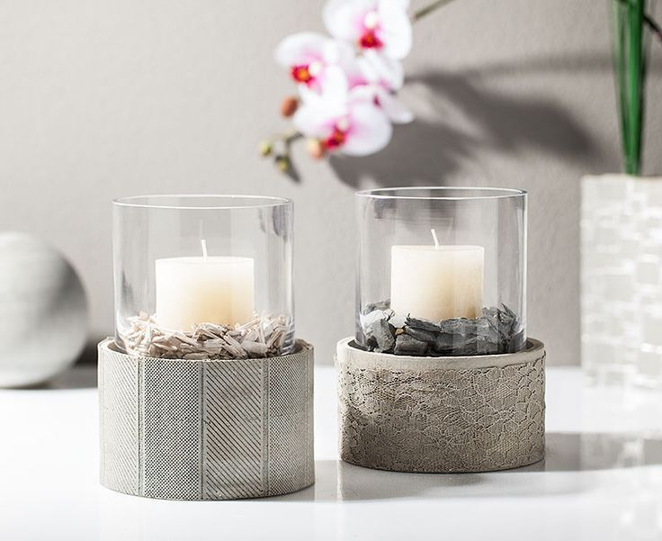 Concrete candle holders with glass