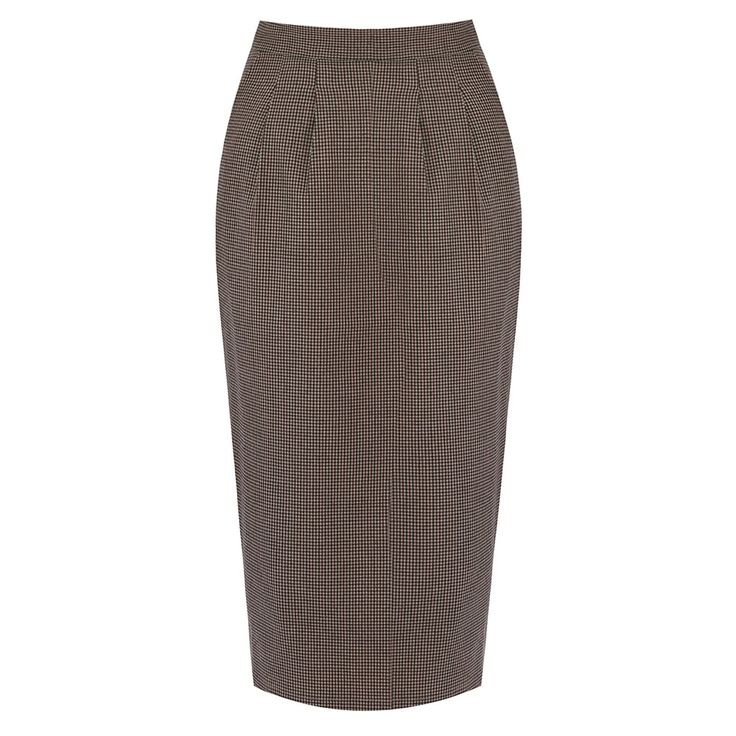 Fontaine Brown Dogtooth Pencil Skirt | Vintage Style Skirts -Lindy Bop