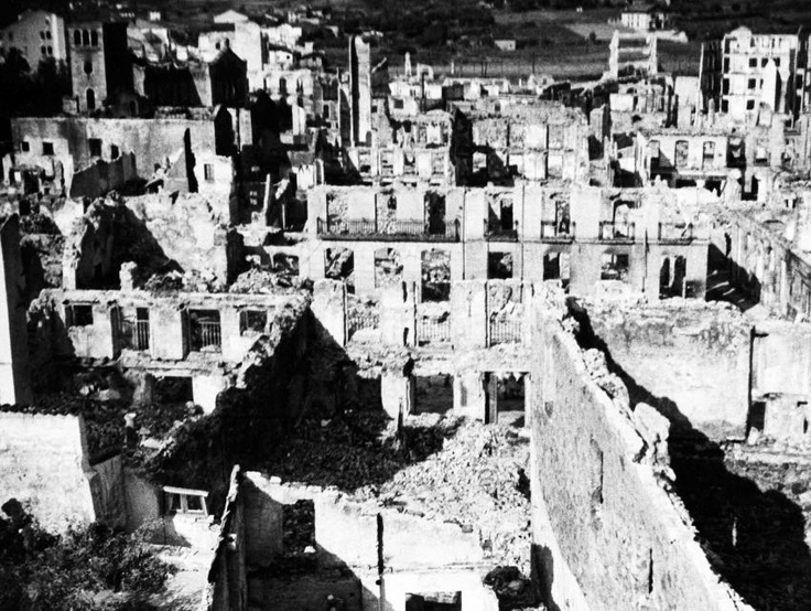 Guernica, Spain. The Basque town in May 1937, photographed shortly after the German air raid.