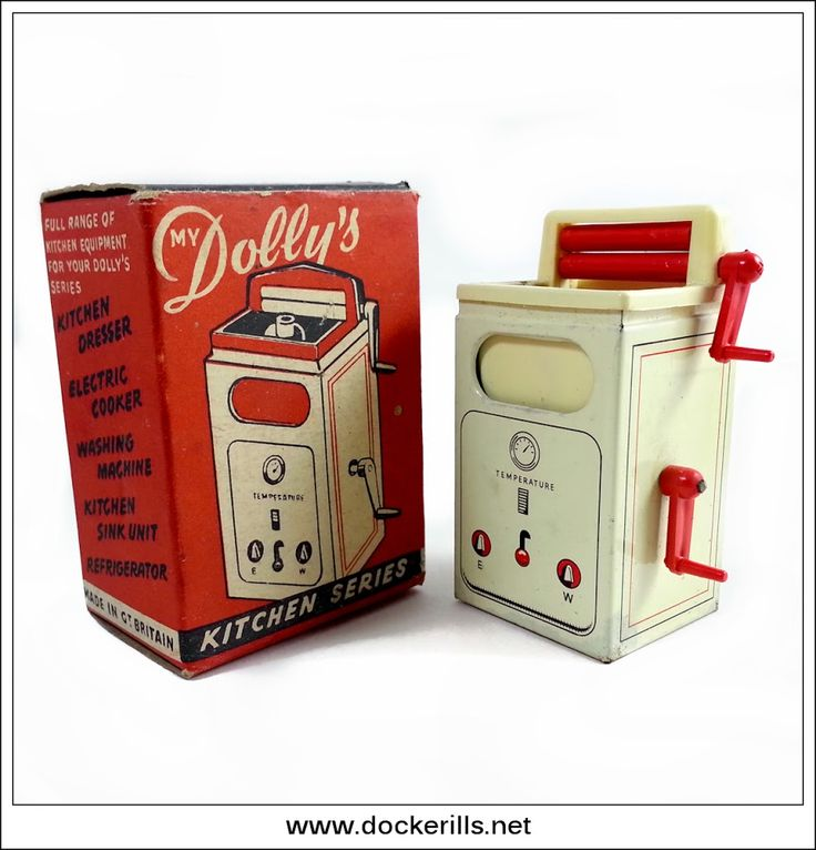 """Welsotoys / Wells-Brimtoy """"My Dolly's Kitchen Series - Washing Machine"""", Great Britain. Vintage Tin Litho Tin Plate Toy. Dolls House Furniture - 1/16th scale. Photo in DOCKERILLS - TIN TOY REFERENCE - GREAT BRITAIN - Google Photos"""