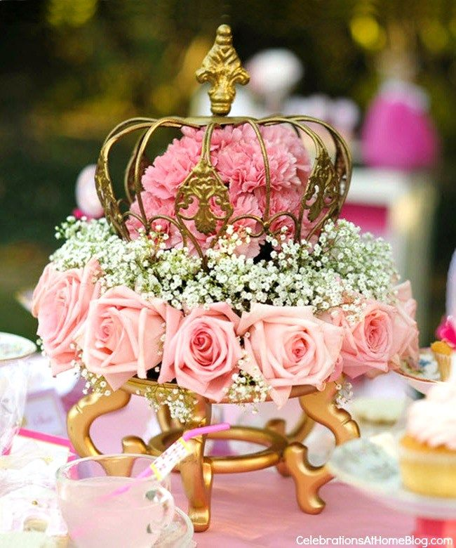 Pink princess tea party styled shoot centerpieces