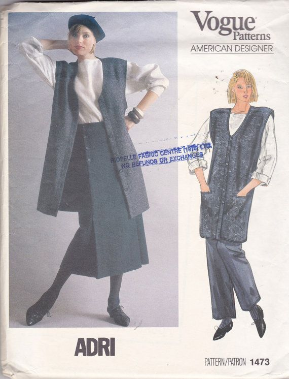 ADRI VOGUE 1473 Top, Vest, Skirt and Pants, not dated