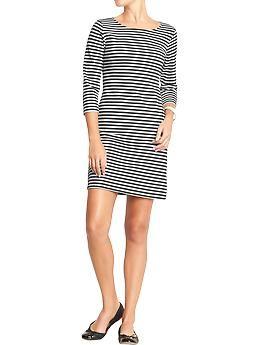 Striped Ponte-Knit Dress, Old Navy