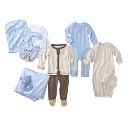 Precious Firsts  Made by Carters ® Newborn Boys' Layette Bundle Set 0-3M: Bring one of these bundles or if you can, replicate one with gowns, sleep and plays, caps, mittens, blanket, burp rags, socks and bibs. You may not know how you want to dress the baby in the hospital or on the day you go home so bring a few of each item. I brought one complete outfit in Newborn and one in 0-3 months just in case.