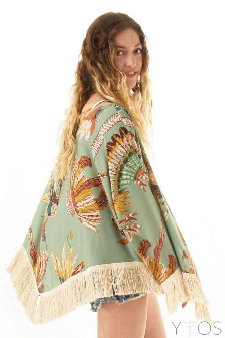 'Hera' Green Kimono W/ Fringes