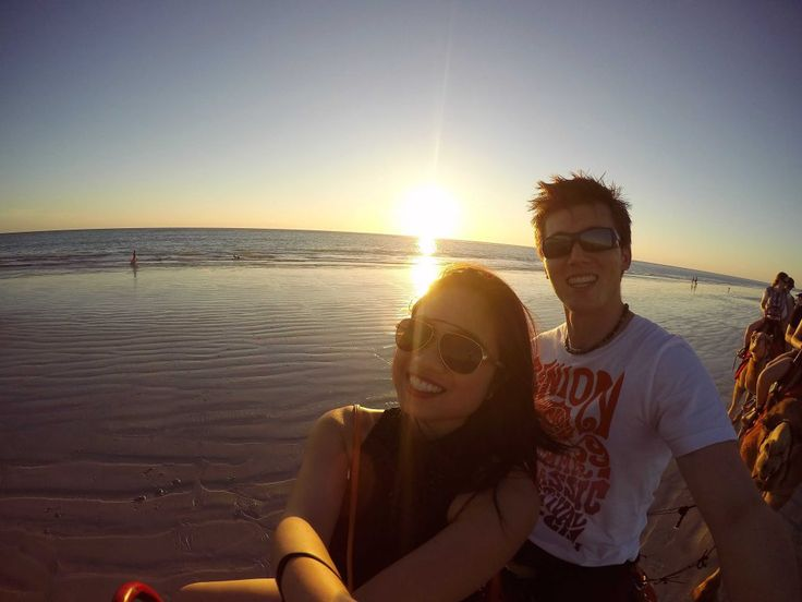 Take a sunset camel ride as a couple on Cable Beach in Broome, Western Australia. Find out more fun activities you can do at the beach as a couple!  #beach #beachactivitiesforcouples #beachcoupleactivities #relaxingonthebeach #funactivitiesforcouples #beachactivities #beachgetaway #creatememories #sunsetcouple
