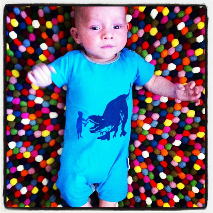 """Gorgeous baby Tarkyn in his """"Dinosaur.. fetch!"""" romper. What a great snap!"""