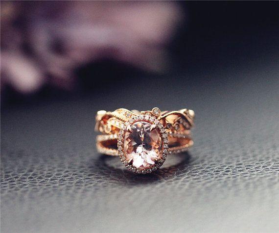 2 anillos anillo Vintage conjunto 7x9mm Oval morganita