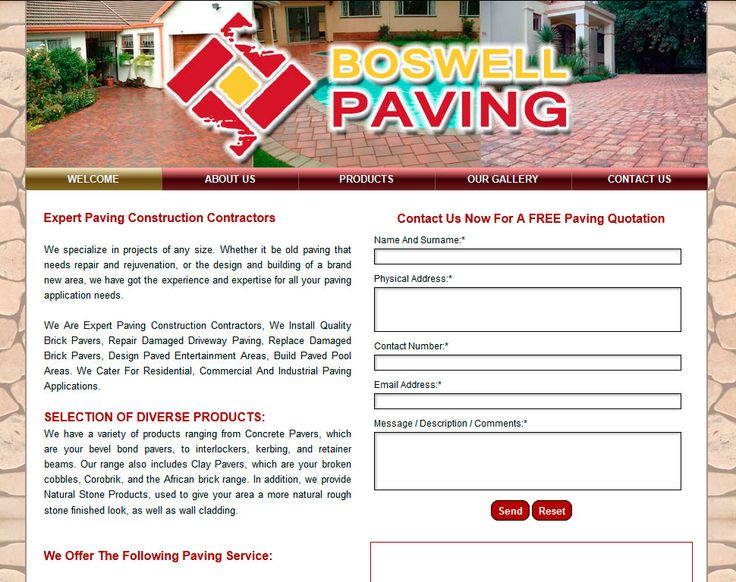 Website Design By DRAGAN GRAFIX - Expert Paving Construction Contractors - Boswell Paving, Install Quality Brick Pavers, Repair Damaged Driveway Paving, Replace Damaged Brick Pavers, Design Paved Entertainment Areas, Build Paved Pool Areas. http://www.boswellpaving.co.za