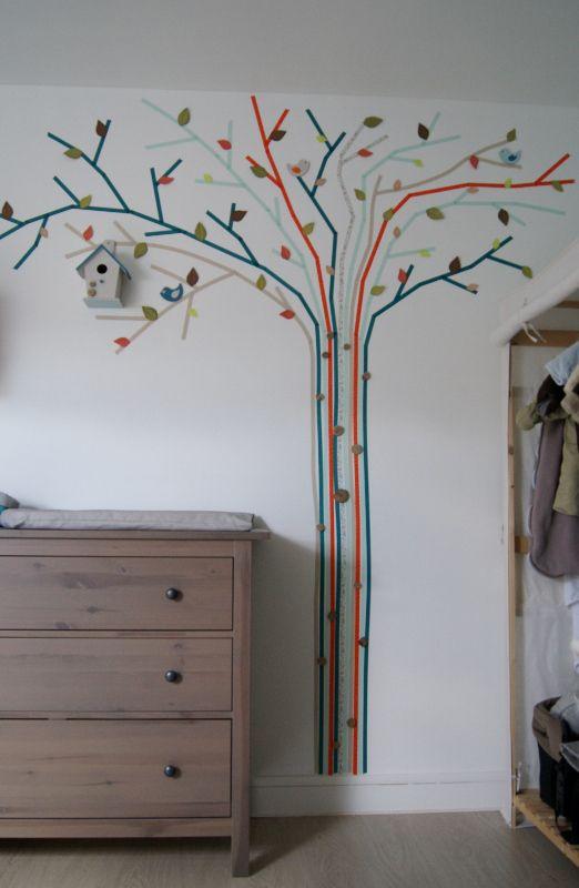 arbre en masking tape geant bleu noisette