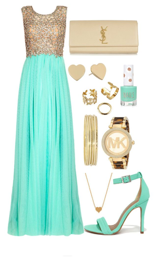 """""""Fancy Mint Green and Gold"""" by jemma-07845 ❤ liked on Polyvore featuring Topshop, Shoe Republic LA, Liz Claiborne, Michael Kors, Kate Spade, Minnie Grace and Yves Saint Laurent"""
