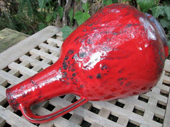 """Large 1950s Vase 12,2"""" Graeflich Gräflich Ortenburg 605/2 – Mid Century Modernist Design – Red & Black Fat Lava – Vintage German Pottery WGP"""