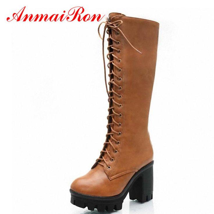 ANMAIRON Siyah Sarı Büyük Boyutu 34-43 Dantel Up Orta Buzağı Kadınlar çizmeler Ayakkabı Yeni Kare Topuk Yüksek Çizmeler Kış Moda Platformu Pompaları
